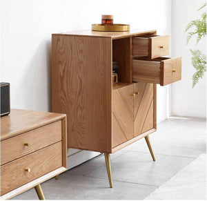 Parquet Solid Oak Tall Sideboard - Oak Furniture Store & Sofas