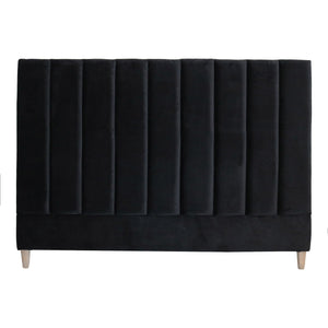 PENELOPE VELVET H/BOARD QN BLACK 1600mm - Oak Furniture Store & Sofas