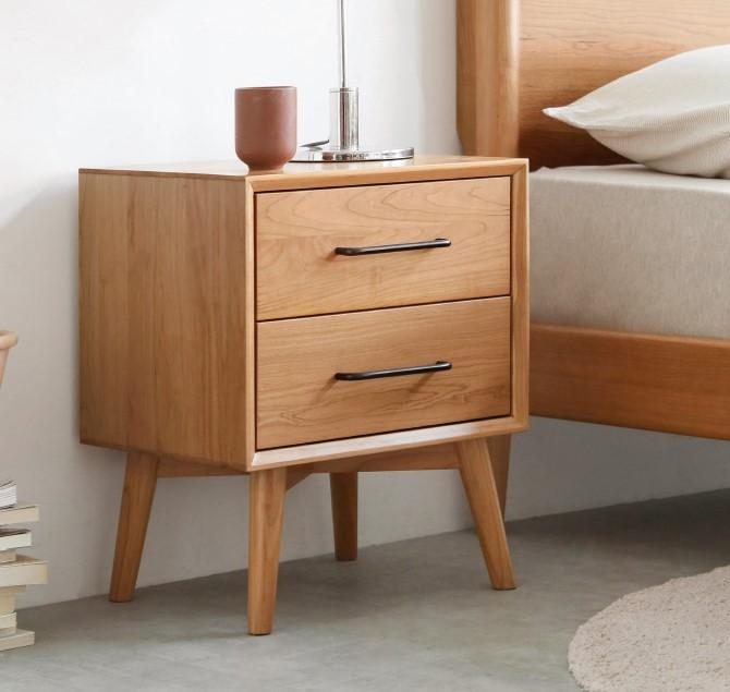 Prunus Solid Cherry Bedside Table Design Two