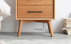 Prunus Solid Cherry Bedside Table Design Two - Oak Furniture Store & Sofas