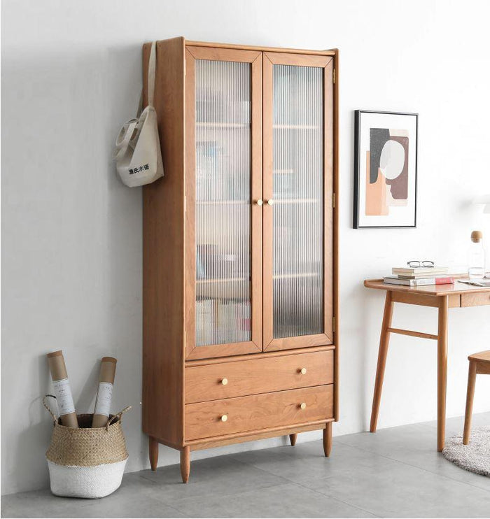 Prunus Solid Cherry Bookcase with Glass Doors