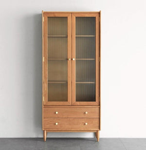 Prunus Solid Cherry Bookcase with Glass Doors - Oak Furniture Store & Sofas