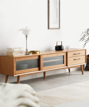 Prunus Solid Cherry Large Entertainment Unit - Oak Furniture Store & Sofas