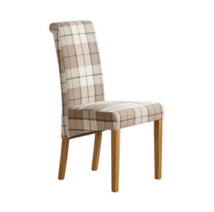 Scroll Back Brown Check Fabric Dining Chair - Oak Furniture Store & Sofas