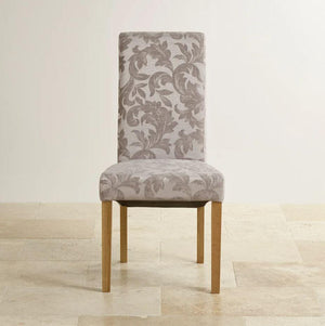 Scroll Back Silver Patterned Fabric Dining Chair - Oak Furniture Store & Sofas