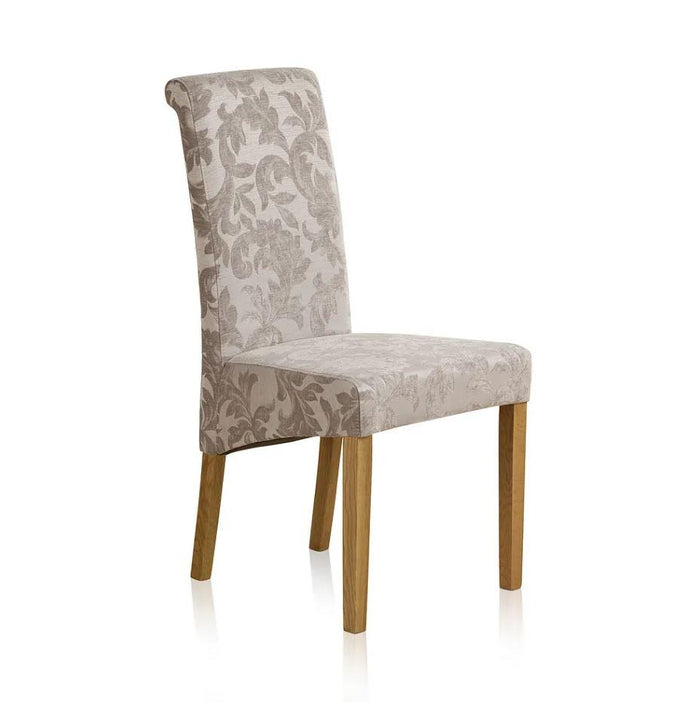 Scroll Back Silver Patterned Fabric Dining Chair
