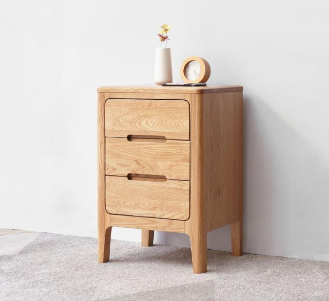 Seattle Natural Solid Oak 3 Drawers Bedside Table