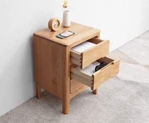 Seattle Natural Solid Oak 3 Drawers Bedside Table - Oak Furniture Store & Sofas