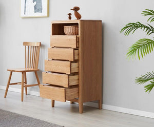 Seattle Natural Solid Oak 5 Drawers Tall Boy - Oak Furniture Store & Sofas