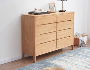 Seattle Natural Solid Oak 8 Drawers Chest - Oak Furniture Store & Sofas