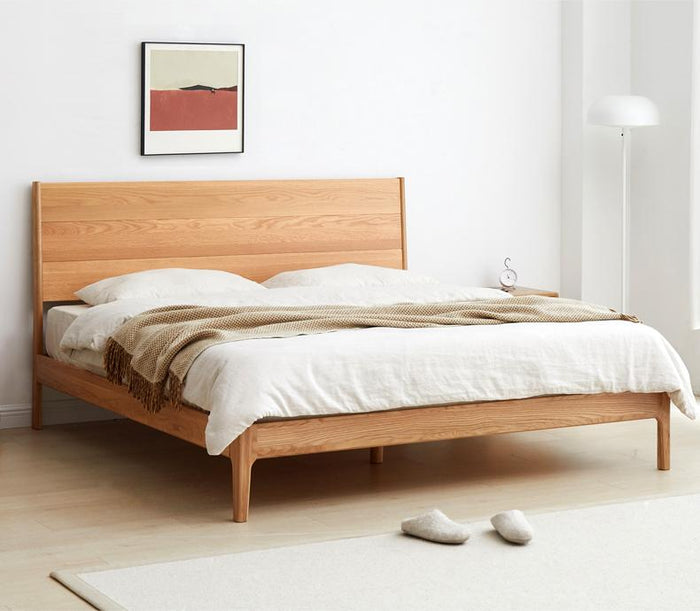 Seattle Natural Solid Oak Queen Size Bed Frame