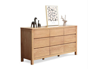 Seattle Natural Solid Oak Chest of 9 Drawers - Oak Furniture Store & Sofas