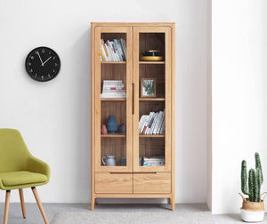 Seattle Natural Solid Oak Display Cabinet - Oak Furniture Store & Sofas