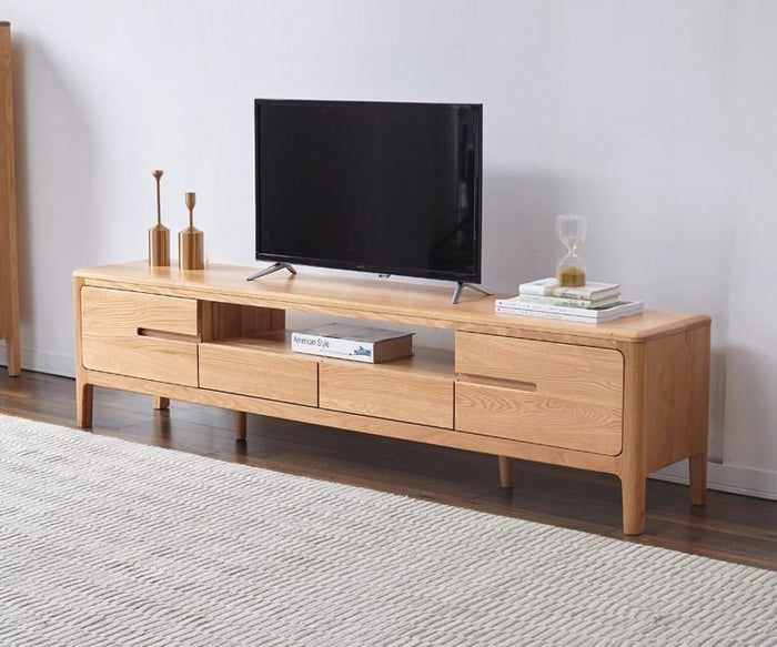 Seattle Natural Solid Oak Entertainment Unit