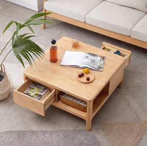 Seattle Natural Solid Oak Square Coffee Table (Coming Soon!) - Oak Furniture Store & Sofas