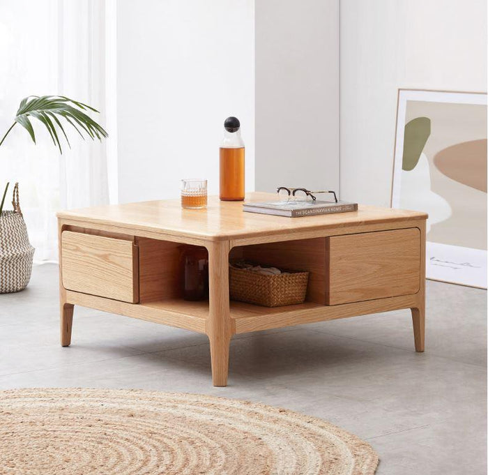 Seattle Natural Solid Oak Square Coffee Table