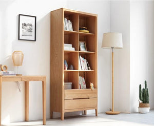 Seattle Natural Solid Oak Tall Bookcase - Oak Furniture Store & Sofas