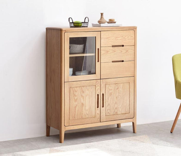 Seattle Natural Solid Oak Tall Sideboard