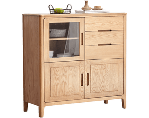 Seattle Natural Solid Oak Tall Sideboard - Oak Furniture Store & Sofas