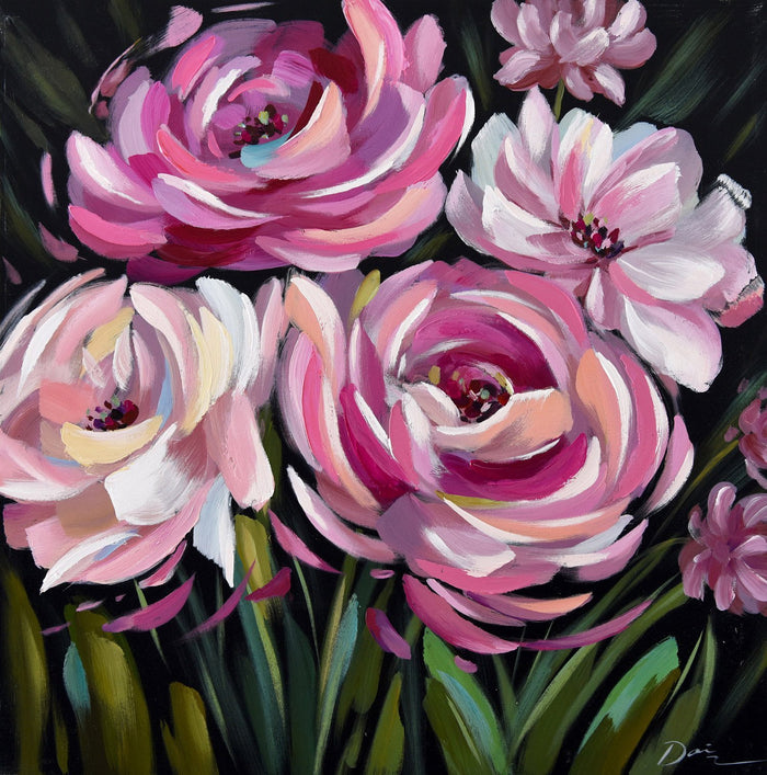 SHADES OF PINK OIL PAINTING 800 X 800MM
