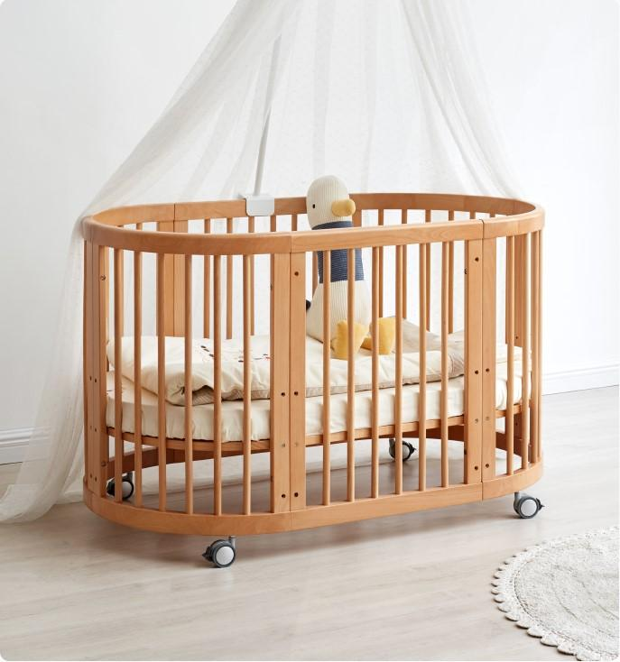 Solid Neutral Beech 3 in 1 Baby Cot Bed