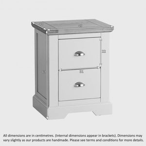 St John's Natural Oak and Light Grey Painted 2 Drawer Bedside Table - Oak Furniture Store & Sofas
