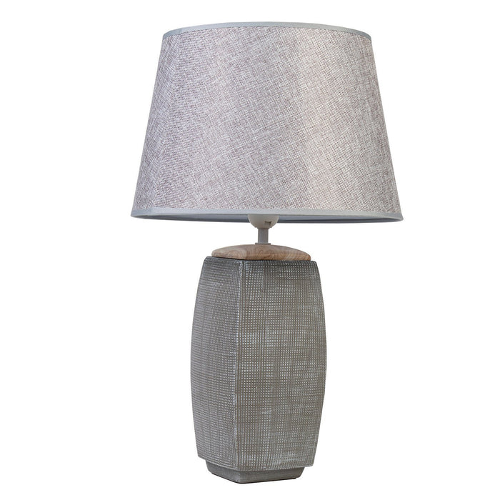 TRELLIS TEXTURED LAMP WITH GREY SHADE