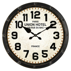UNION HOTEL IRON WALL CLOCK - Oak Furniture Store & Sofas