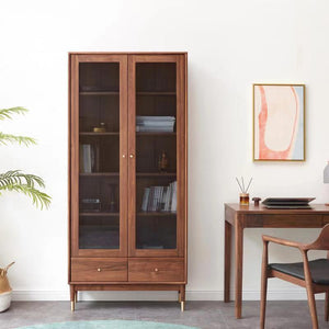 WALNUT DISPLAY/BOOKCASE CABINET - Oak Furniture Store & Sofas