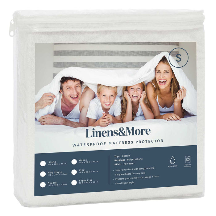 WATERPROOF COTTON MATTRESS PROTECTOR SUPER KING WHITE