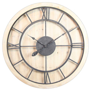 WOOD/IRON WALL CLOCK - Oak Furniture Store & Sofas