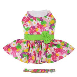 PInk Hawaiian Floral Dog Harness Dress With Matching Leash - DogCrush Boutique