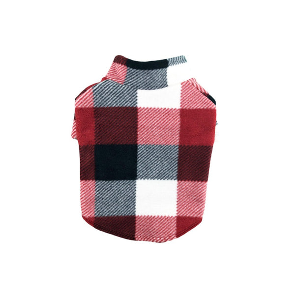 Red and White Plaid Fleece Outdoor Pullover Sweater (Thick) NEW - DogCrush Boutique