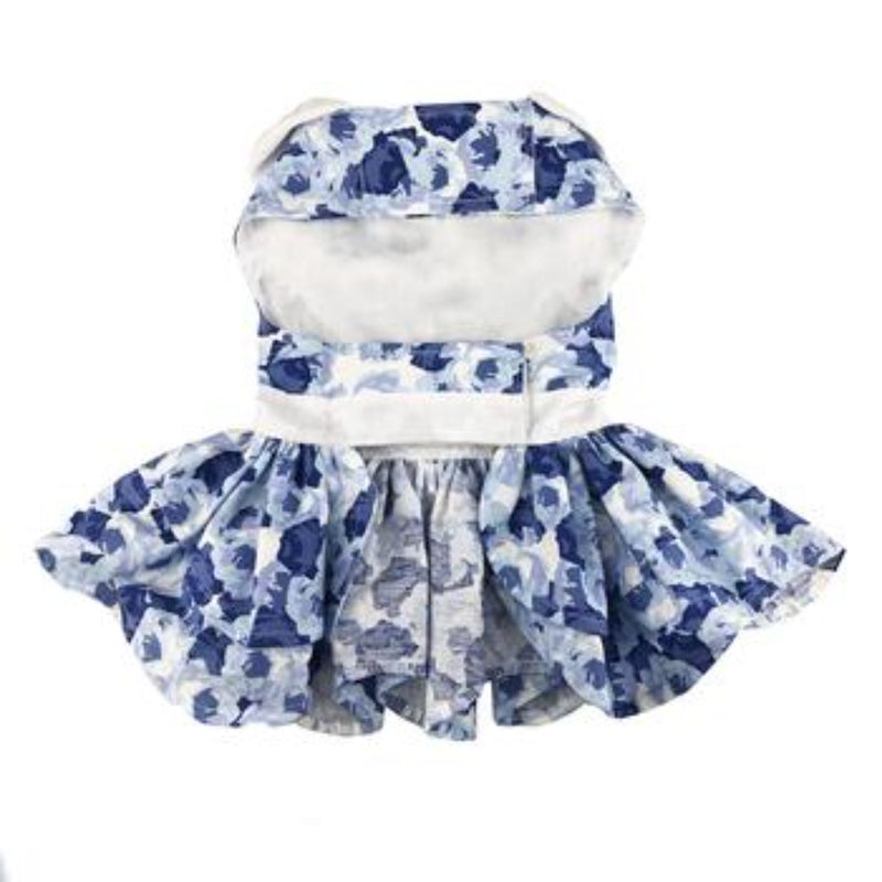 Blue Rose Harness Dress & Matching Leash - DogCrush Boutique