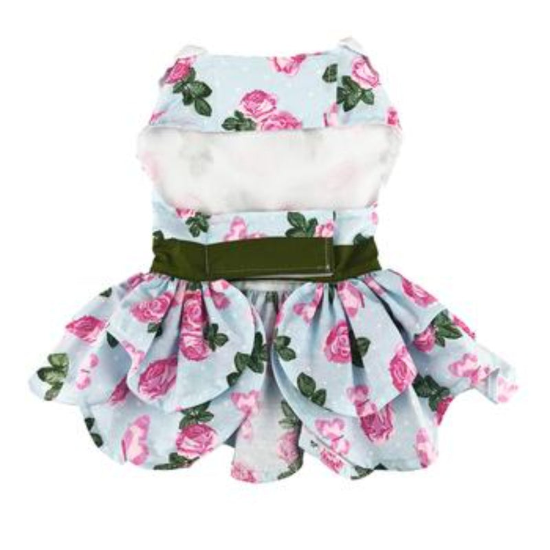 Pink Rose Tea Time Garden Dress With Matching Leash: give your pet princess the chance to be the flower of the party.