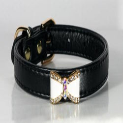 Black Crystal Bow Fancy Collar - DogCrush Boutique