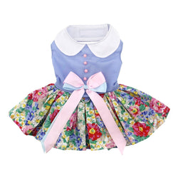 Blue and Pink Floral Dress Harness & Leash - DogCrush Boutique