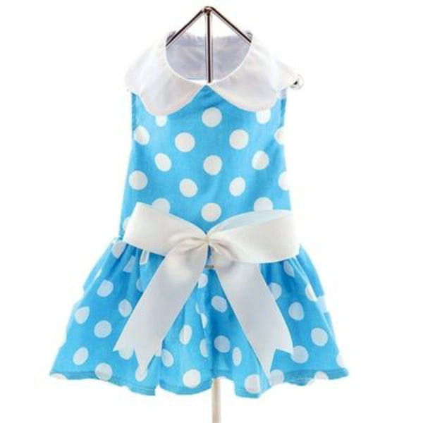 Blue Polka Dot Ruffle Dress with D-Ring and Matching Leash - DogCrush Boutique