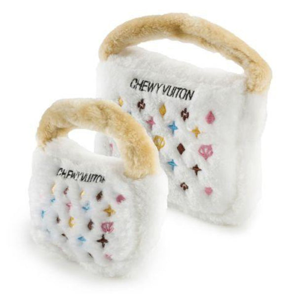 White Chewy Vuiton Plush Toy Purse - DogCrush Boutique