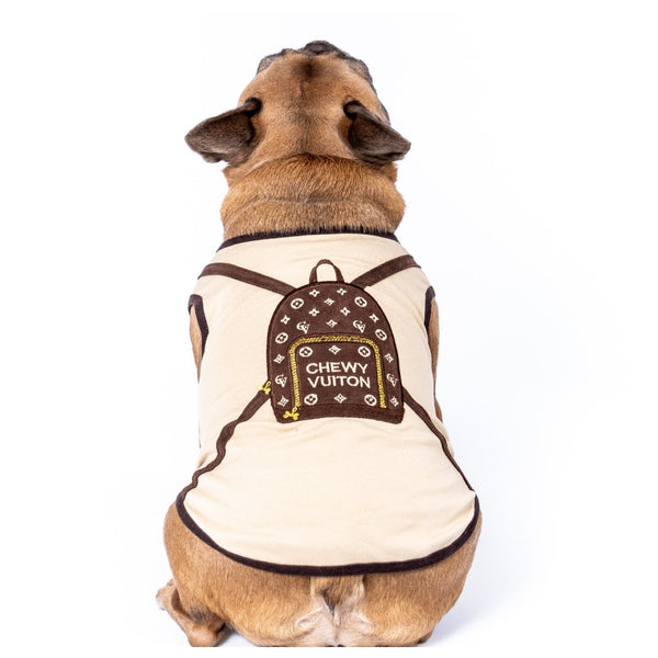 Designer Tank Embroidered Chewy Vuitton Brown Packpack - DogCrush Boutique