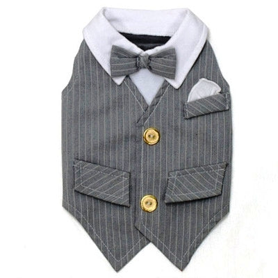 Kelsey White Pin Striped Grey Tuxedo - DogCrush Boutique