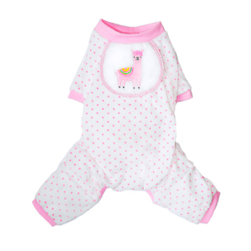 Pink Llama With Embroidery Detail Cotton Pajama - DogCrush Boutique