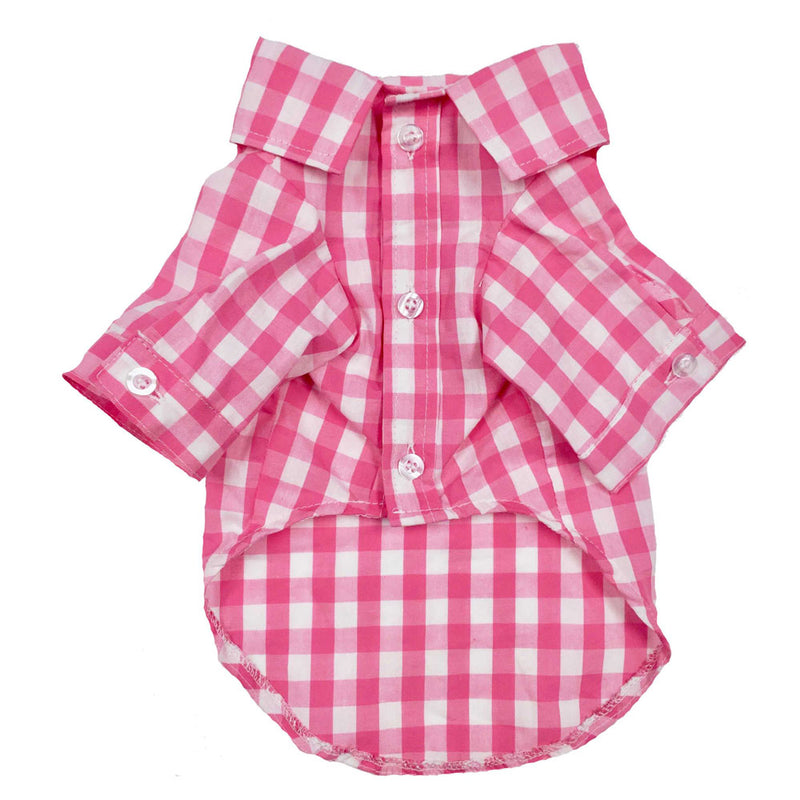 Plaid Shirt Button Down in Pink - DogCrush Boutique