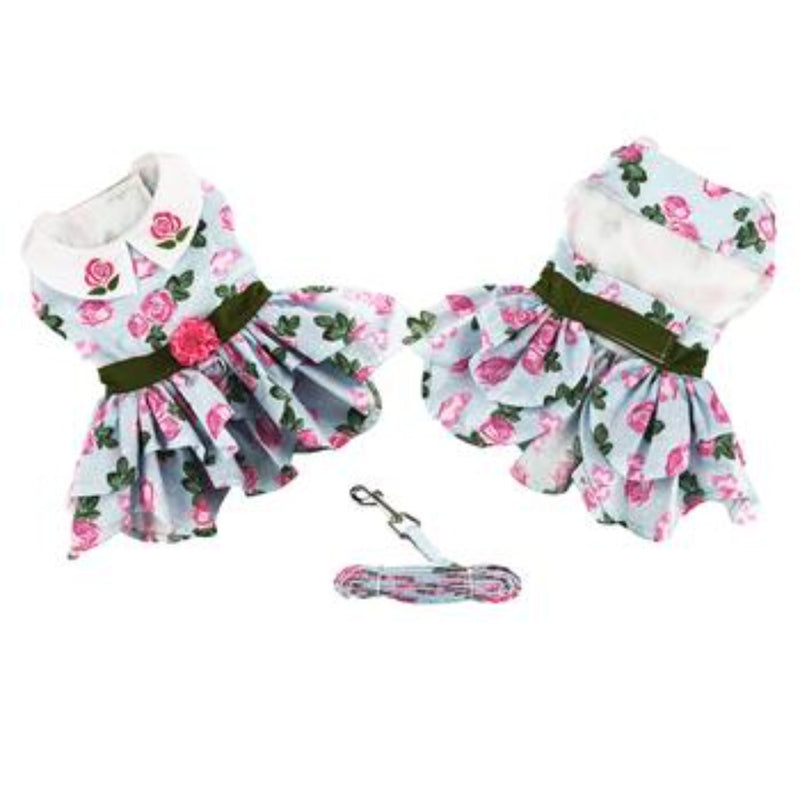 Pink Rose Tea Time Garden Dress With Matching Leash: give your pet princess the beauty, comfort, and love that she deserves.