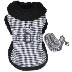 Black and White Classic Houndstooth Dog Harness Coat with Leash - DogCrush Boutique