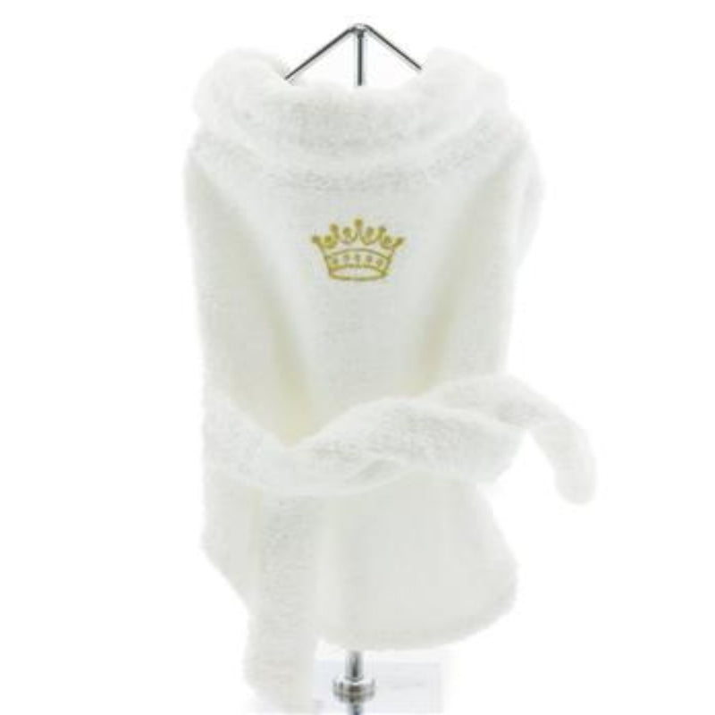 White Cotton Terrycloth Spa Bathrobe with Gold Crown for Dogs - DogCrush Boutique