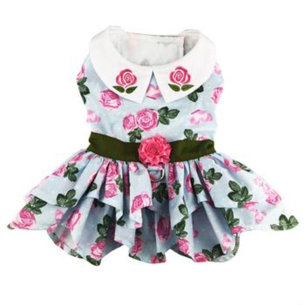 Pink Rose Tea Time Garden Dress With Matching Leash (NEW) - DogCrush Boutique