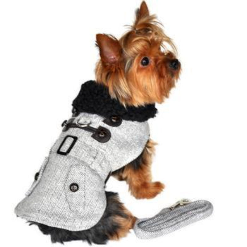 Grey Herringbone Designer Harness Coat and Matching Leash - DogCrush Boutique