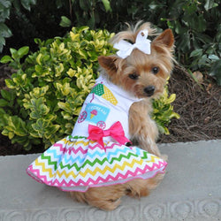Rainbow Chevron Ice Cream Cart Dress with D-Ring - DogCrush Boutique