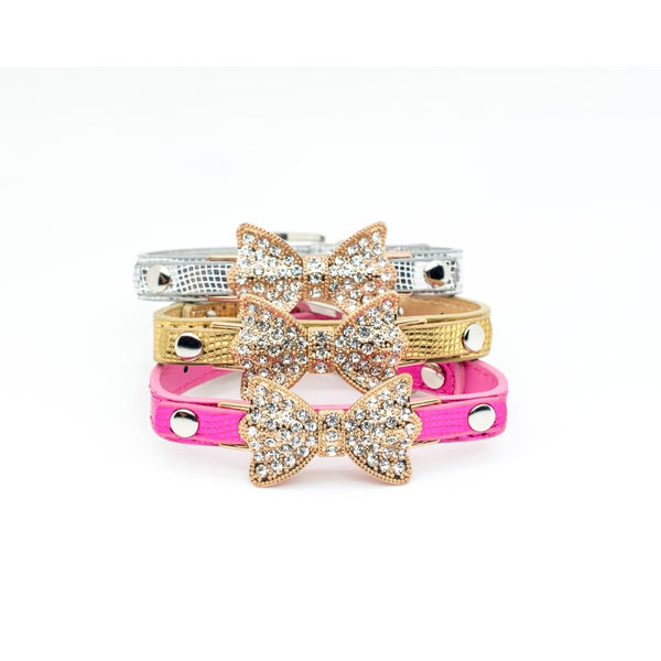 Rhinestone Crystal Bling Bow Collar - DogCrush Boutique